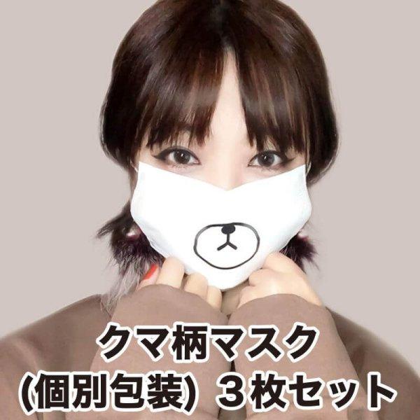 画像1: クマ柄マスク 3層不織布マスク 個別包装3枚パック【送料無料】 (1)